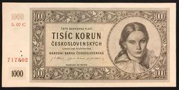 Ceskoslovenska CECOSLOVACCHIA 1000 CORONE 1945 TISIC KORUN UNC- Q.fds P-74s Lotto 601 - Slowakije