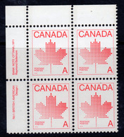 Canada 1981 Maple Leaf Definitive,'A' Value Marginal Block Of 4, MNH, SG 1030 - 1952-.... Reign Of Elizabeth II