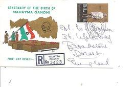 Gandhi ( FDc De Malte De 1969 Voyagé En Recommandé De LaValette Vers La Grande-Bretagne à Voir) - Mahatma Gandhi