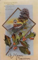 AL79 Greetings - Christmas, Church, Holly, Berries - Christmas