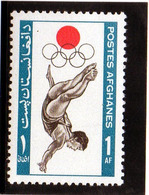 1964 Afghanistan - Olimpiadi Di Tokyo - Kunst- Und Turmspringen
