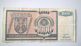 NB SR Bosnia And Herzegovina 1000 Dinara 1992, P-137a - Bosnia Erzegovina
