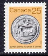 Canada 1982-7 Heritage Artefacts Definitives 25c Butter Stamp Value, MNH, SG 1060 - 1952-.... Reign Of Elizabeth II