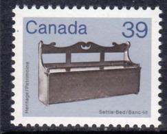 Canada 1982-7 Heritage Artefacts Definitives 39c Settle-Bed, MNH, SG 1062 - 1952-.... Reign Of Elizabeth II