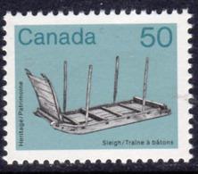 Canada 1982-7 Heritage Artefacts Definitives 50c Sleigh, MNH, SG 1065 - 1952-.... Reign Of Elizabeth II