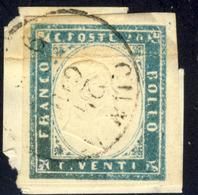 IV Emissione Di Sardegna 1855 N° 15 E - 20 C. Cobalto Verdastro Su Piccolo Frammento (class. ASI) - Firmato G.Oliva - Sardegna