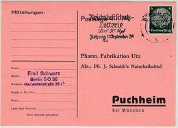 DR - Reichsluftschutz-Lotterie, Masch.werbestpl. Karte Berlin - Puchheim 1938 - Germania