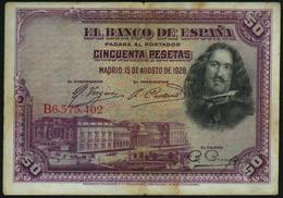 SPAIN - 50 Pesetas 15.08.1928 {Banco De España} Fine P.75 B - [ 1] …-1931 : Eerste Biljeten (Banco De España)