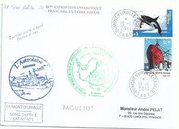YT 105 Orque - YT 156 Bateau Nella Dan - Posté à Bord De L'Albatros - Dumont D'Urville - 19/01/2011 - Covers & Documents
