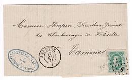 772/29 -- Lettre Avec Contenu TP 30 Points 6 ANDENNE 1871 Vers TAMINES - Cachet Société Des Mines De LANDENNE Sur MEUSE - 1863-1864 Medallions (13/16)
