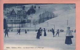 OUDE POSTKAART ZWITSERLAND  -  SCHWEIZ -    WINTERSPORT - CHATEAU D'OEX - HOTEL - PATINAGE - VD Vaud