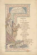 Beau Menu Illustré De 1900 Institut National Agronomique Art Nouveau Par Julian Damazy - Menú