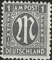 GERMANY 1945 German Print - 1pf - Black MNH - Zone Anglo-Américaine
