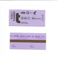 Ticket De Bus Et Metro De Paris ( France 2006 ) - Subway