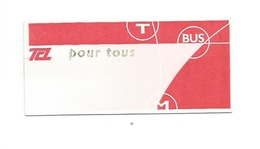 Ticket De Bus Et Metro De Lyon (France 2007 ) - Subway