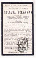 DP Juliana Berghman / Misseyne Messeyne ° Oekene Roeselare 1846 † 1917 - Images Religieuses