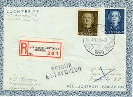 15 XI 1950 Luchtbrief Aangetekend Van Sauwerd Via Luchthaven Amsterdam Schiphol Naar Brazzaville En Retour - Entiers Postaux