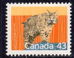 Canada 1988-93 Mammals Definitives 43c Lynx Value, MNH, SG 1268 - 1952-.... Reign Of Elizabeth II