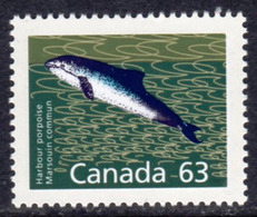 Canada 1988-93 Mammals Definitives 63c Harbour Porpoise Value, MNH, SG 1273b - 1952-.... Reign Of Elizabeth II