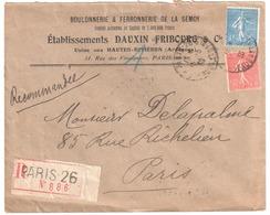 PARIS 26 R Faubourg St Denis 50c 1F Semeuse Lettre Recommandée Ob 15 5 1930 Yv 199 205 Entête Boulon Fer DAUXIN Ardennes - Storia Postale