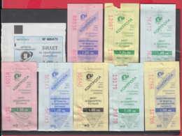 247916 / Lot Of 9 Pieces -  BUS , TRAM , Trolleybus , SOFIA , Ticket Billet , Bulgaria Bulgarie Bulgarien Bulgarije - Strassenbahnen