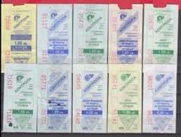 247917 / Lot Of 10 Pieces -  BUS , TRAM , Trolleybus , SOFIA , Ticket Billet , Bulgaria Bulgarie Bulgarien Bulgarije - Strassenbahnen