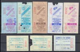 247919 / Lot Of 8 Pieces -  BUS , TRAM , Trolleybus , SOFIA , Ticket Billet , Bulgaria Bulgarie Bulgarien Bulgarije - Strassenbahnen