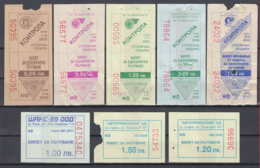 247924 / Lot Of 8 Pieces -  BUS , TRAM , Trolleybus , SOFIA , Ticket Billet , Bulgaria Bulgarie Bulgarien Bulgarije - Tramways