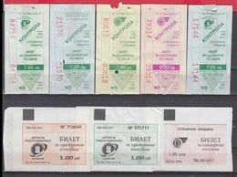247925 / Lot Of 8 Pieces -  BUS , TRAM , Trolleybus , SOFIA , Ticket Billet , Bulgaria Bulgarie Bulgarien Bulgarije - Tramways