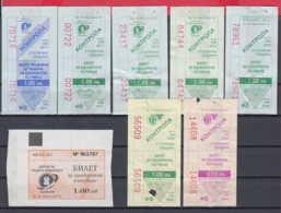 247929 / Lot Of 8 Pieces -  BUS , TRAM , Trolleybus , SOFIA , Ticket Billet , Bulgaria Bulgarie Bulgarien Bulgarije - Strassenbahnen