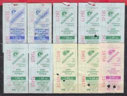 247935 / Lot Of 10 Pieces -  BUS , TRAM , Trolleybus , SOFIA , Ticket Billet , Bulgaria Bulgarie Bulgarien Bulgarije - Strassenbahnen