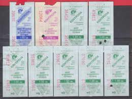 247938 / Lot Of 9 Pieces -  BUS , TRAM , Trolleybus , SOFIA , Ticket Billet , Bulgaria Bulgarie Bulgarien Bulgarije - Strassenbahnen