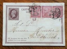 CARTOLINA POSTALE  N. 1 CON STRISCIA DI 3 DEL 2 C. PER L'ESTERO : DA MILANO STAZ. 30 SET 78 PER INNSBRUCK - 1900-44 Vittorio Emanuele III