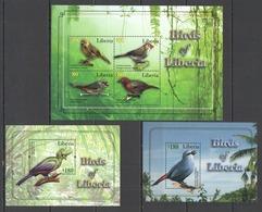 X038 2010 LIBERIA FAUNA BIRDS #5872-75 MICHEL 19 EURO 1KB+2BL MNH - Birds