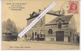 """WUESTWEZEL-WUUSTWEZEL""""HOTEL DE VRIJE BURGER MET STOOMTRAM-CHANTRAIN STAEPELS""""HOELEN 8588 UITGIFTE 1921 TYPE 6 - Wuustwezel"""