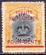 STRAITS SETTLEMENTS 1906-07 SG 144m 4c On 12c MH (part Gum) - Straits Settlements