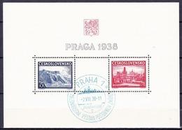 Tchécoslovaquie 1938 Mi 398-9 - Bl.4 (Yv BF 6), Obliteré - Used Stamps