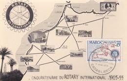MAROC ,carte Maximum ROTARY 1955, (( Lot 485 )) - Marokko (1891-1956)