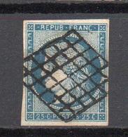 - FRANCE N° 4d Oblitéré Grille - 25 C. Bleu Terne Type Cérès 1850 - Cote 50 EUR - - 1849-1850 Cérès
