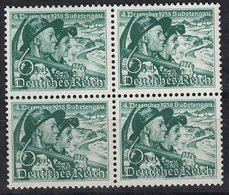 DR 684 X, 4erBlock, Postfrisch **, Volksabstimmung Sudetenland 1938 - Germany