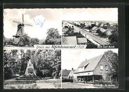 AK Möhlenwarf, Windmühle, Geschäftshaus R. Smidt, Ehrenmal & Blick Nach Bunde - Germania