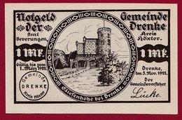 Allemagne 1 Notgeld 1 Mark Stadt Drenke   (RARE) Dans L 'état N °4690 - Collections