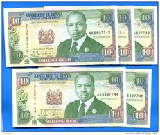 Kenya  10  Shillings  1993  Sup  Suite  5  Billets - Kenia