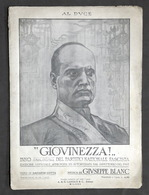 Spartito - Giovinezza - Inno Trionfale Del Partito Nazionale Fascista - 1925 - Vecchi Documenti
