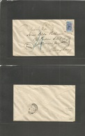 MACAU. 1910 (13 Sept) FPO - Hong Kong (13 Sept) Fkd Env Bisected 6 Avo / 20 Or. UPPER PART Horizontally Transited With C - Macau