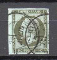 - FRANCE N° 11c Oblitéré CAD - 1 C. Olive Foncé Type Napoléon III 1860 - Cote 120 EUR - - 1853-1860 Napoléon III