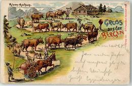 52101676 - Alpen-Aufzug Pferd Pferdewagen Kuehe Rinder - Saluti Da.../ Gruss Aus...