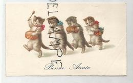 Mignonnette De Vœux. Quatre Chats Musiciens: Tambour, Flûte, Bandonéon, Partition. - Anno Nuovo