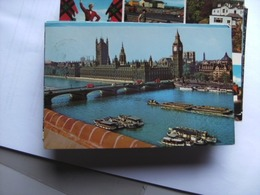 Engeland England London Bridge Boats Important Buildings - Houses Of Parliament