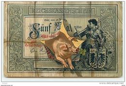 N°6985 - Carte Fantaisie - Représentation D'un Billet De Banque Allemand  - Cochon - Coins (pictures)
